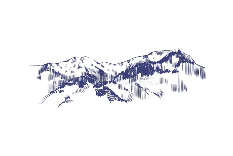 Mountain landscape. Vector hand drawn illustration. Mountains in Sketch style. royalty free illustration
