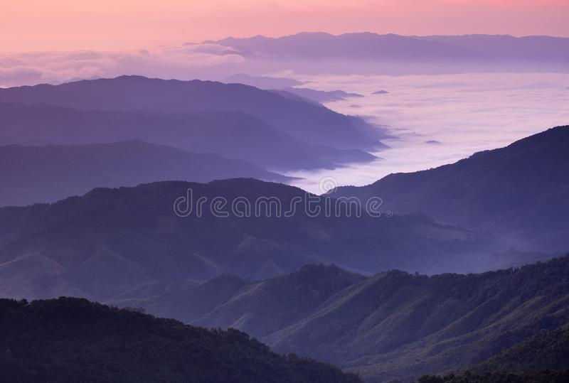 Mountain landscape in the morning at Nan Thailand stock photo