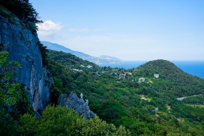 Mountain landscape with views of the sea. And mountain Ayu-Dag in Crimea royalty free stock image