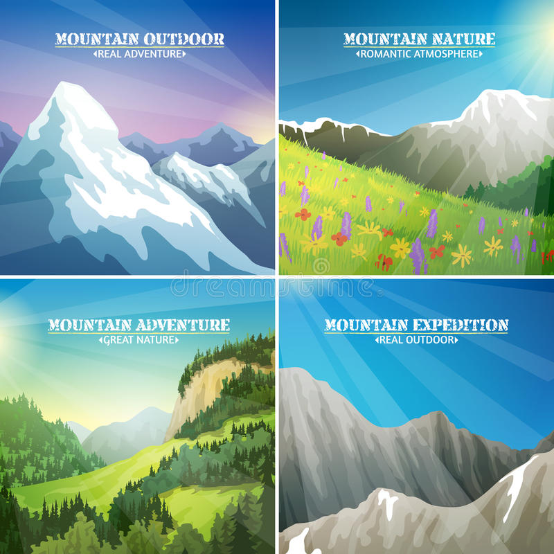 Free Mountain Landscapes 4 Flat Icons Square Royalty Free Stock Image - 66540846