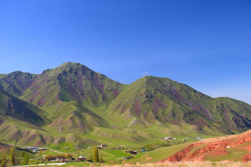 Mountain landscapes of Kyrgyzstan. Spring in the mountains royalty free stock images