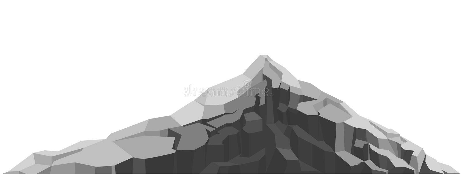 Mountain of large rock and stone. Boulders, graphite coal. vector illustration