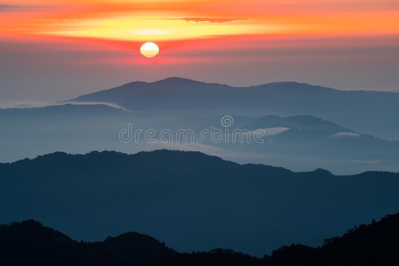 Mountain layer during chage of light from nuture and cloud. On above landscape royalty free stock photo