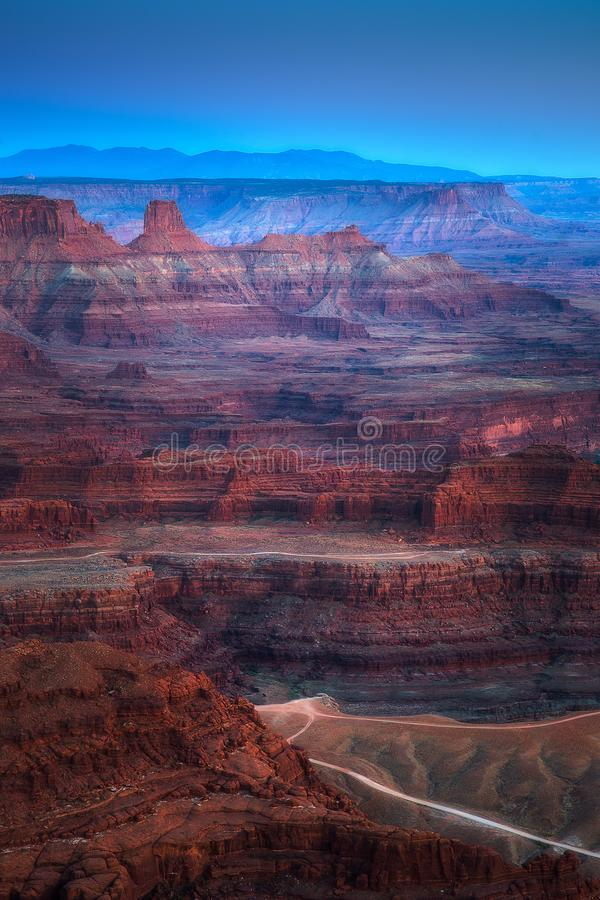 Mountain Layers and Rock Formation of Dead Horse Point State Park and Colorado River in Utah stock images