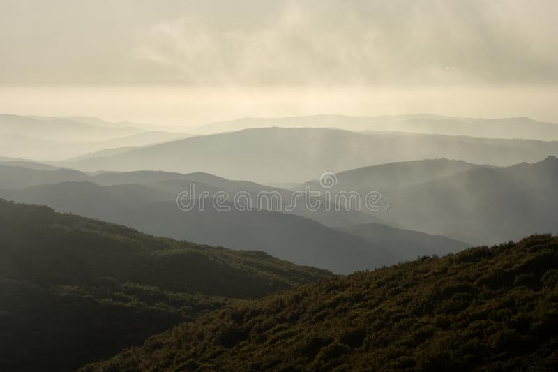 Mountain layers at sunset royalty free stock images