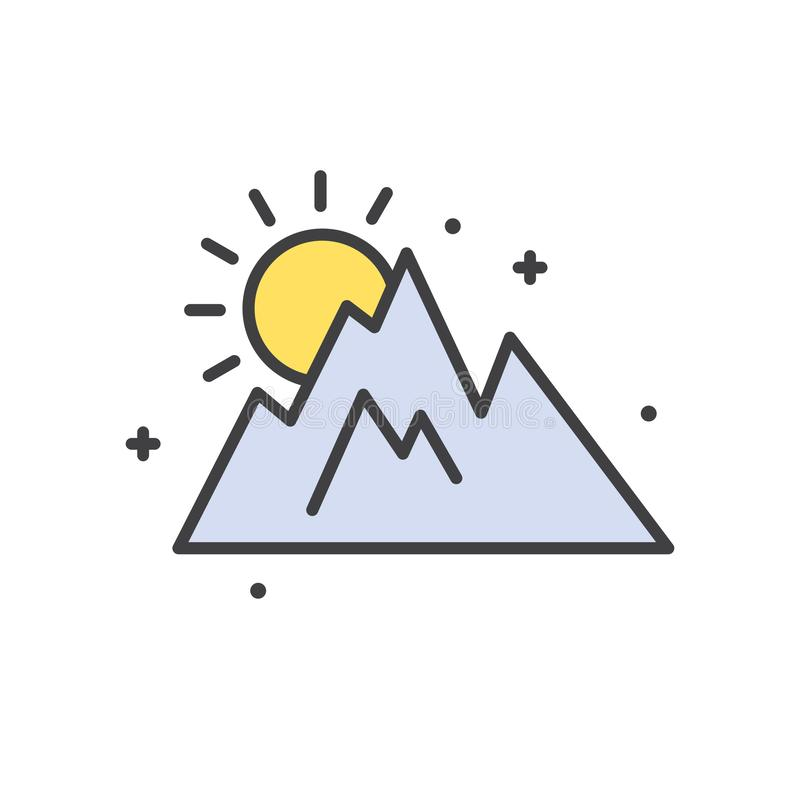 Mountain line icon for graphic and web design, Modern simple vector sign. Internet concept. Trendy symbol for website stock illustration