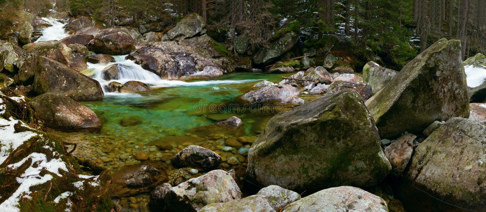 Mountain little river. Hing Tatras, Panorama royalty free stock images