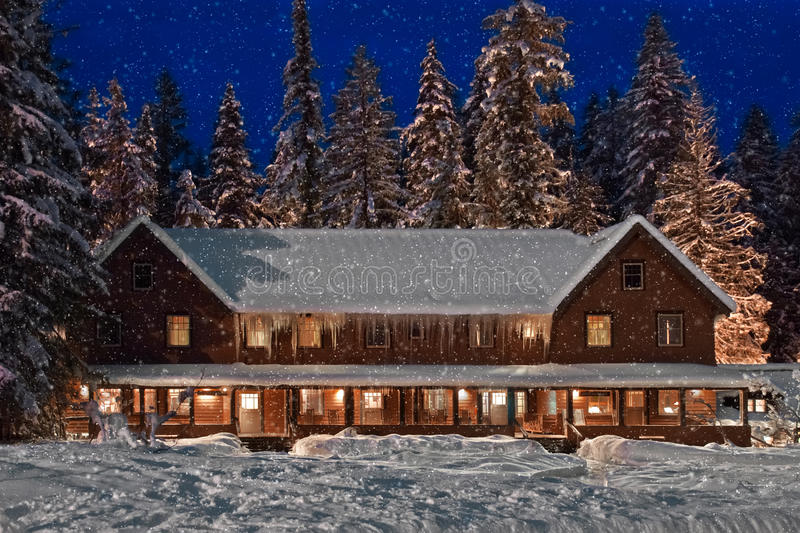 Download Mountain Lodge stock photo. Image of illuminated, comfortable - 23453132