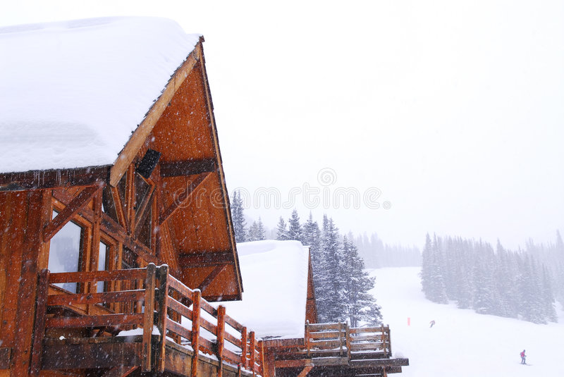 Mountain lodge. Wooden mountain lodge at downhill ski resort in Canadian Rocky mountains royalty free stock photos