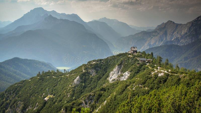 Mountain lodge on Hilltop Austria royalty free stock photo
