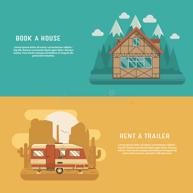 Mountain Lodge and Rv Trailer Banners. Different homes set. Mountain lodge at wilderness and Rv camper at wild desert. Traditional alpine chalet and camping royalty free illustration