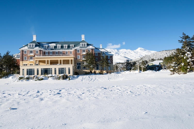Mountain lodge. Mountain lodge surrounded with snow royalty free stock photography