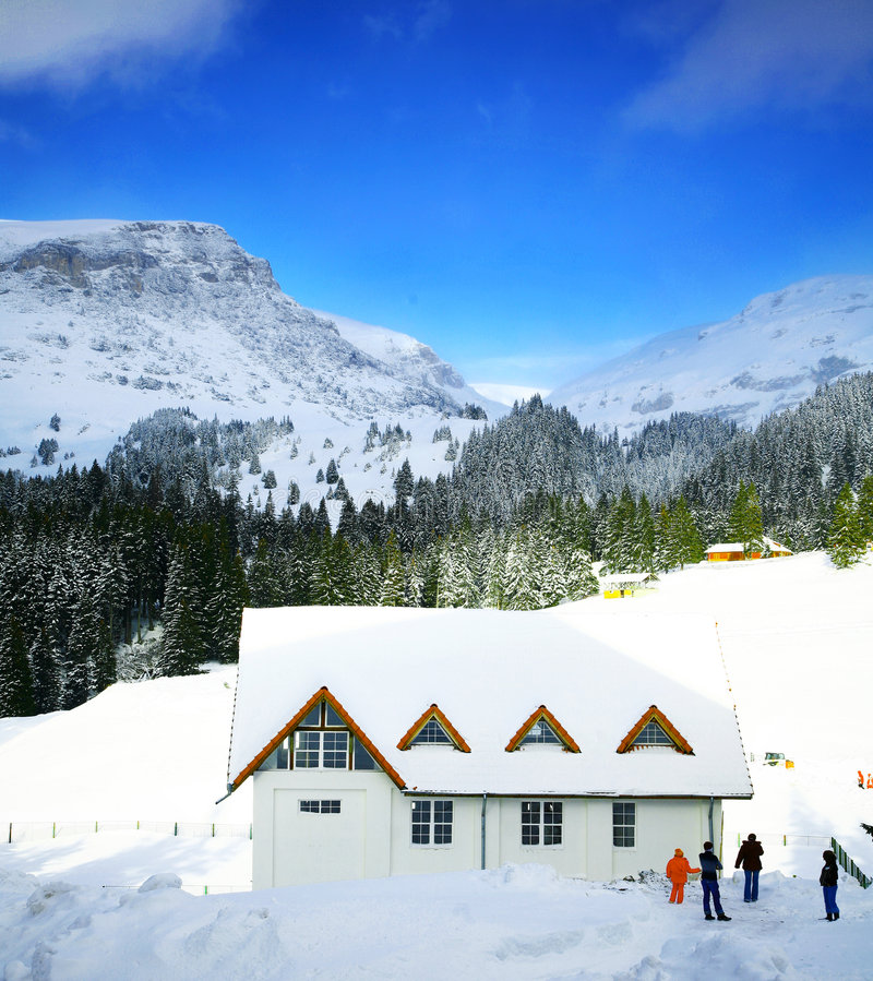 Download Mountain Lodge In Winter Snow Stock Photo - Image of background, four: 3980318