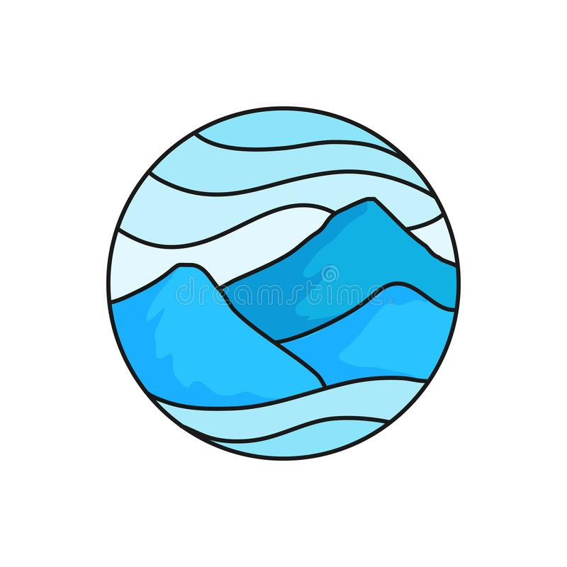Mountain logo badge. High cloudy mountains illustration for trekking outdoor activity concept with circle frame. Simple flat cartoon style vector design vector illustration