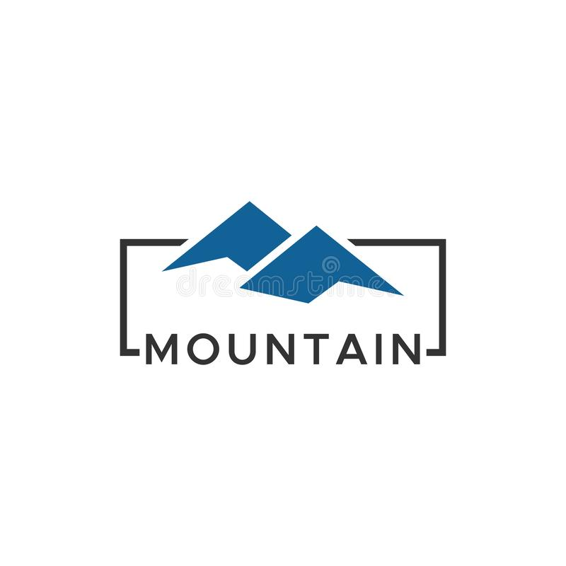 Mountain logo design with blue color stock illustration