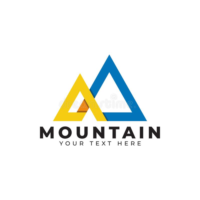 Mountain logo design template vector isolated illustration. Minimalist, rocky, hills, panorama, sky, icon, logotype, outdoor, vacation, creek, sun, volcano royalty free illustration