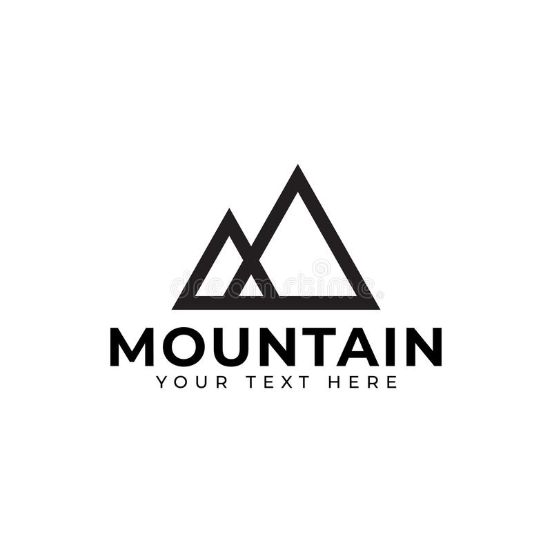 Mountain logo design template vector isolated illustration. Minimalist, rocky, hills, panorama, sky, icon, logotype, outdoor, vacation, creek, sun, volcano vector illustration