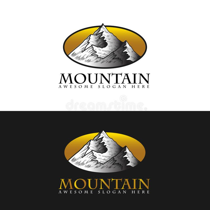 Mountain landscape icon Logo Business Template Vector, shape of the mountain line logo vector, logo app stock illustration
