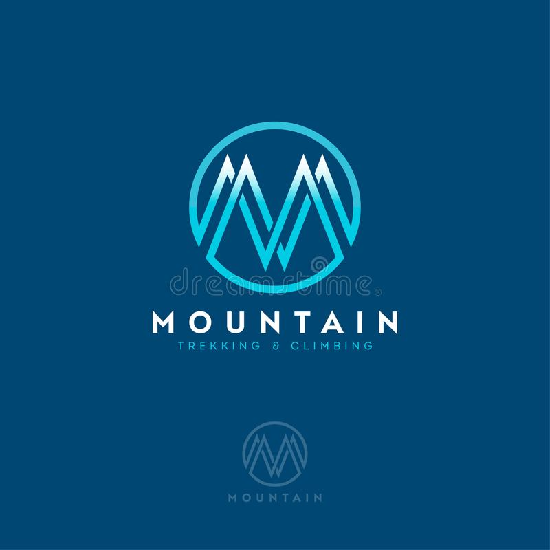 Mountain logo, monogram. Letter M as a mountain. Clothing store, equipment for climbing. stock illustration