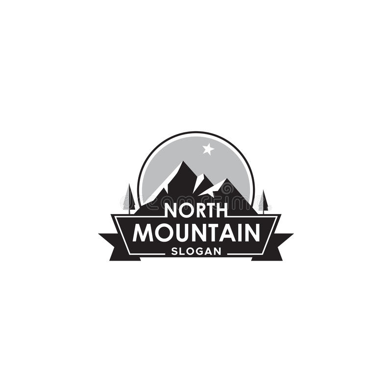 Mountain logo with north star, label or badge vector design element. stock illustration