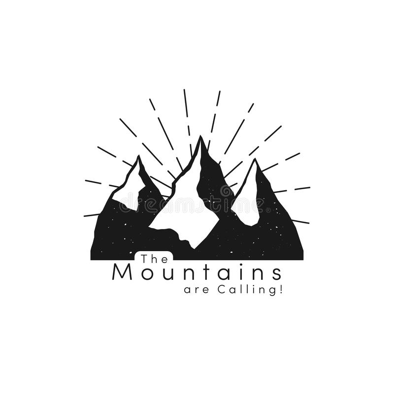 Mountain logo with snow ice tops and retro sun rays in hipster style. Mountain peaks, tourism concept, hiking royalty free illustration