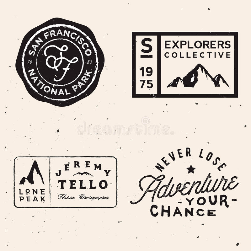 Free Mountain Logotypes. Adventure Logo Templates On Travel Theme Stock Photography - 96554902