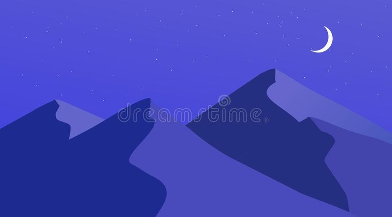 Mountain Design Artwork Flat Landscape. The mountain look at side,simple image with modern design,drawed with moon,stars sky,blue royalty free illustration