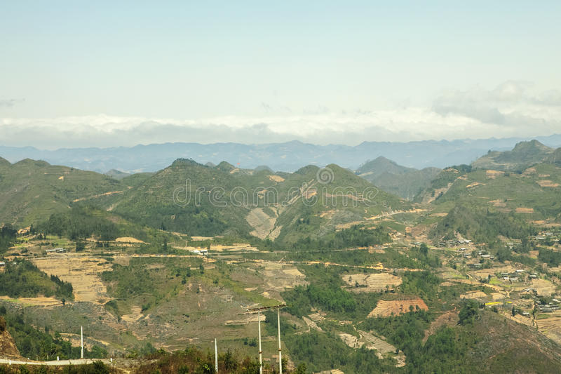 Mountain at Lung Cu. In Van stone. Van Stone Plateau (natural or painted Van) is a rocky plateau spread over four districts of Quan Ba, Yen Minh, Van, Meo Vac stock images
