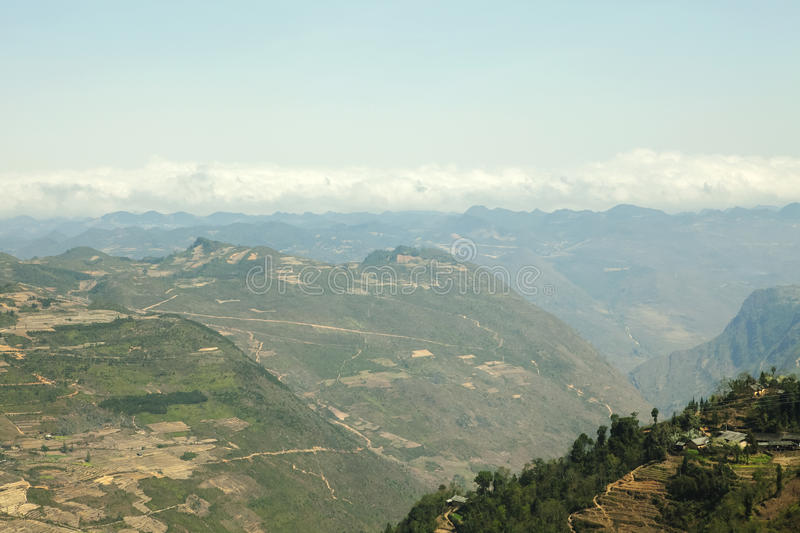 Mountain at Lung Cu. In Van stone. Van Stone Plateau (natural or painted Van) is a rocky plateau spread over four districts of Quan Ba, Yen Minh, Van, Meo Vac royalty free stock image