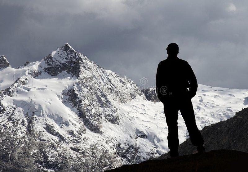 Mountain and man stock image