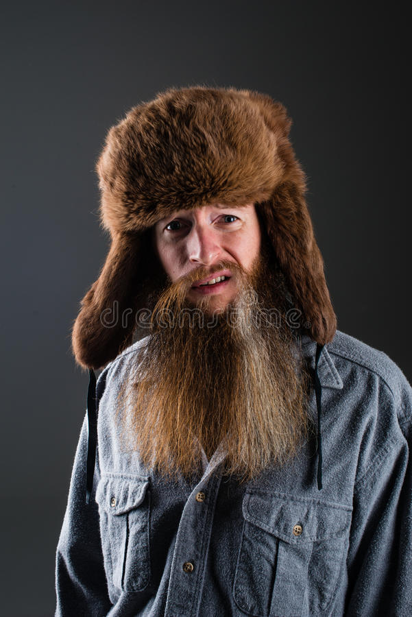 Mountain man with a sneer stock photos