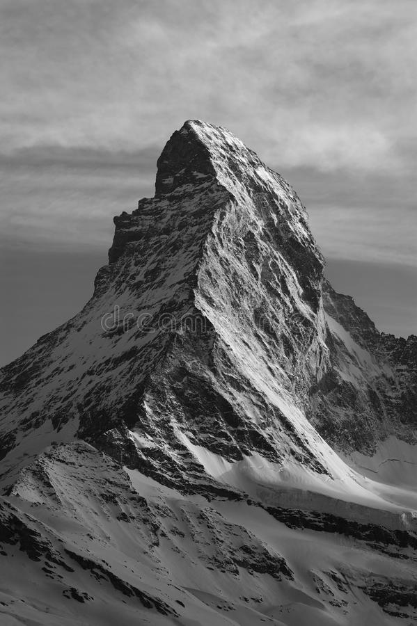 Mountain Matterhorn. At dusk, Zermatt, Switzerland stock image