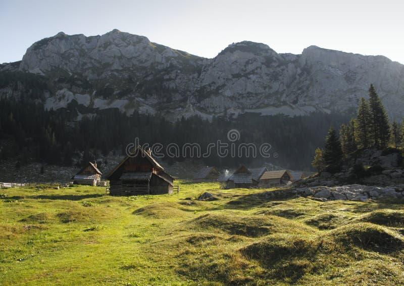 Mountain meadow Planina V Lazu in Julian Alps stock photo