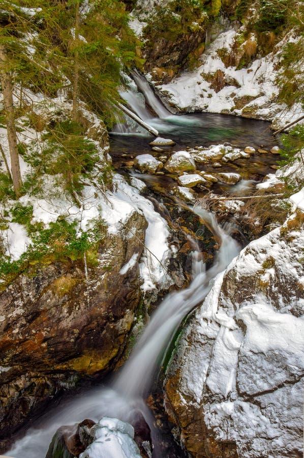 Mountain Mickiewicz waterfall in the Tatra mountains, Poland. Mountain Mickiewicz waterfall in the Tatra mountains near the road to Morskie Oko lake - popular royalty free stock photography