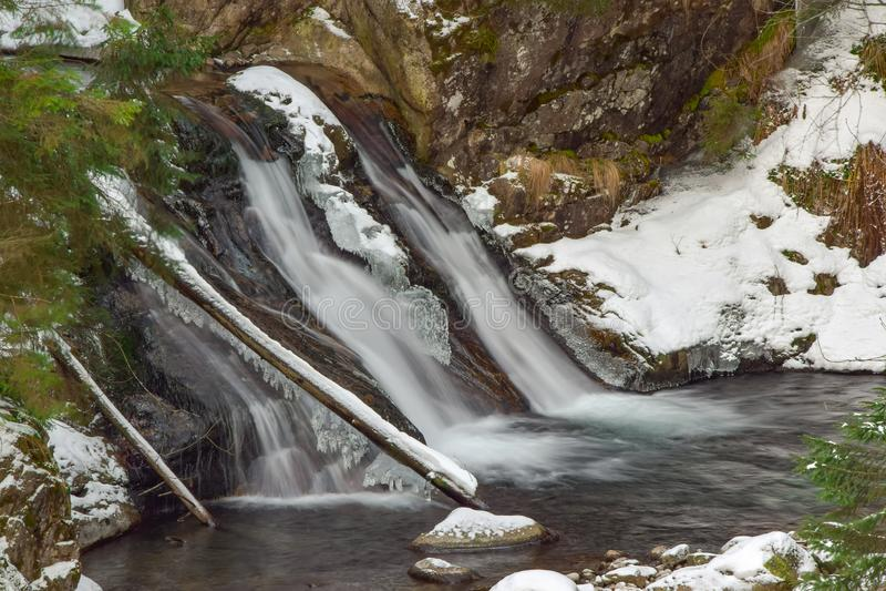 Mountain Mickiewicz waterfall in the Tatra mountains, Poland. Mountain Mickiewicz waterfall in the Tatra mountains near the road to Morskie Oko lake - popular royalty free stock photo