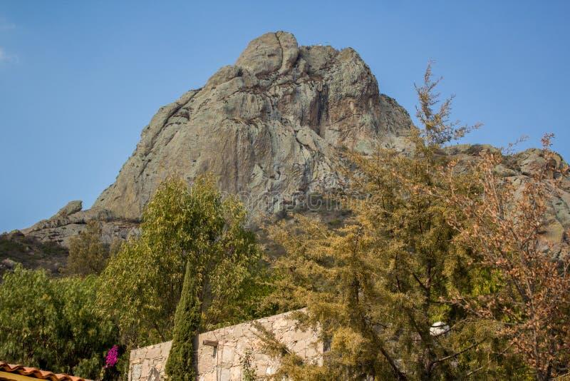 Monolith in Peña de Bernal Mexico royalty free stock photo