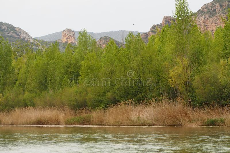 Mountain of the Montseny, Lerida. Catalonia, Spain, curious natural rock formations called crests, by the form that they present, with the river Segre at their royalty free stock photo