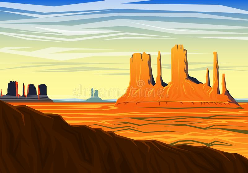 Mountain and Monument Valley, morning panoramic view, peaks, landscape early in daylight. travel or camping, climbing royalty free illustration