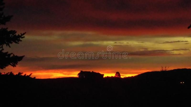 Mountain Morning Sunrise House on Hill. Mountain Morning Sunrise House on the royalty free stock photos