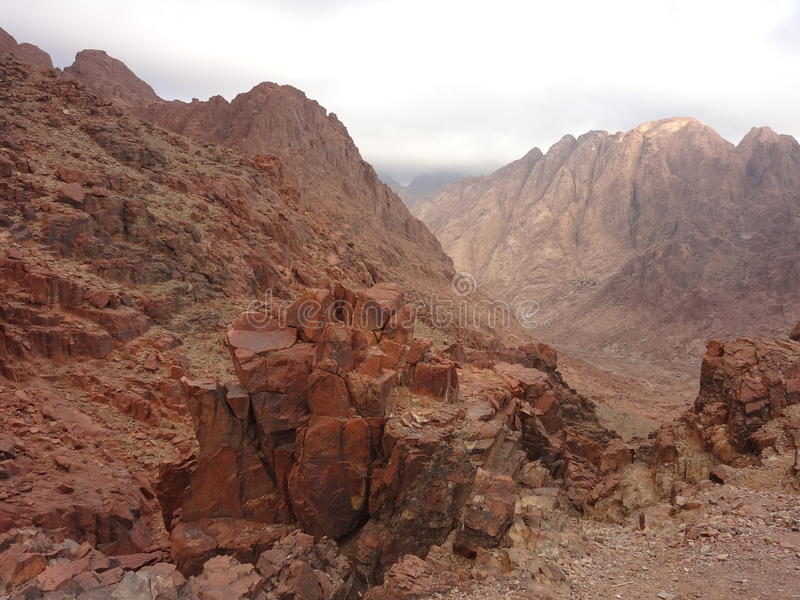 The mountain of Moses. Descent to the monastery of Saint Catherine royalty free stock photo