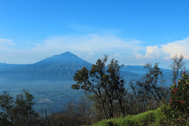 Mountain. Mount Cikuray view from Mount Guntur in Garut City, Indonesia royalty free stock photos