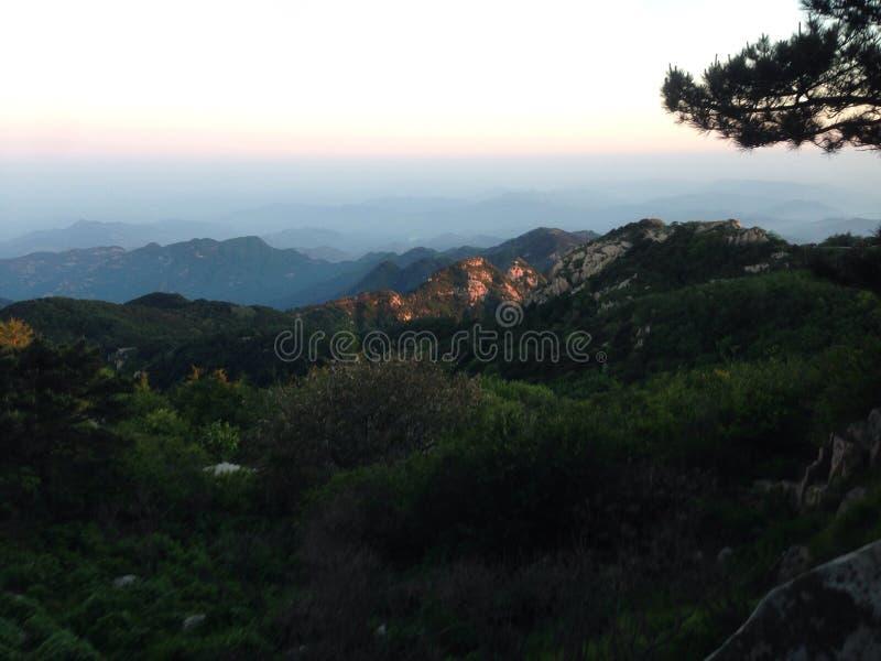 The mountain. Mount Tai'an the greentree morning stock photos