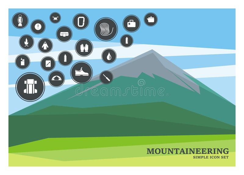 Mountain and mountaineering icon set stock illustration