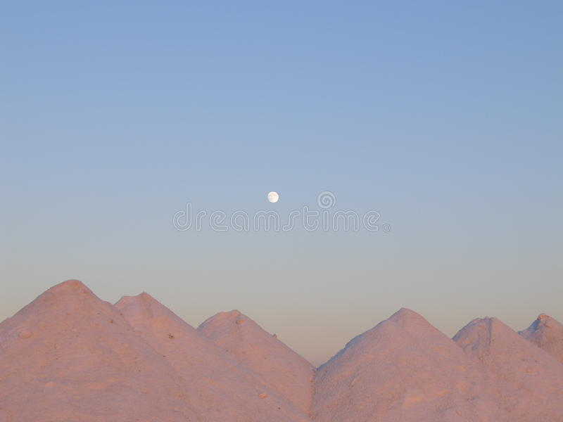 The mountain of new salt, and moon royalty free stock images