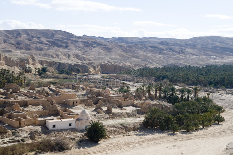 Mountain Oasis. Of Tamerza, Tunisia royalty free stock photos