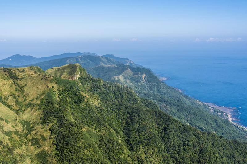 Mountain and ocean meet on the north east coast of Taiwan stock image