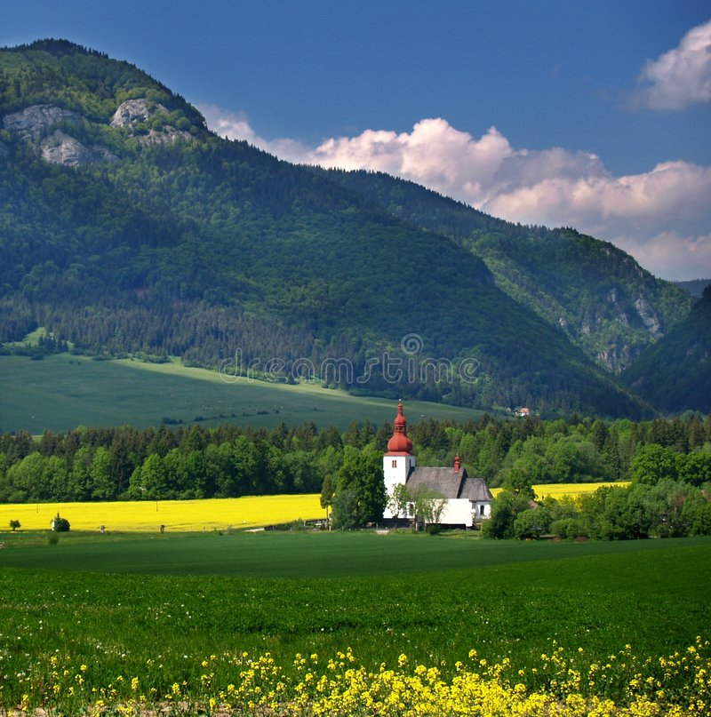 Mountain and old church. Located in central Slovakia stock photos