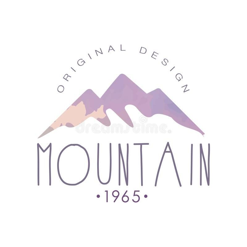 Mountain original design estd 1965 logo, tourism, hiking and outdoor adventures emblem, retro wilderness badge vector stock illustration