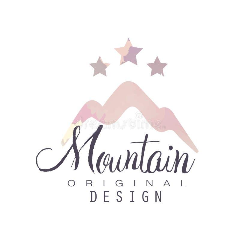 Mountain original design logo template with stars, tourism, hiking and outdoor adventures emblem, retro wilderness badge vector illustration