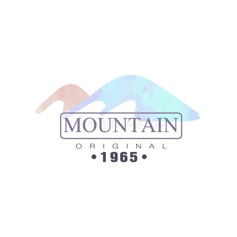 Mountain original 1965 logo, tourism, hiking and outdoor adventures emblem, retro wilderness badge vector Illustration stock illustration